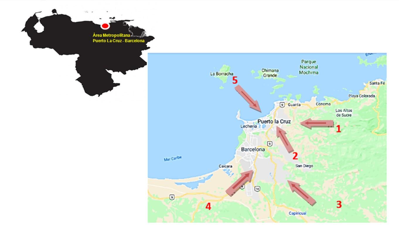 Circuitos agroalimentarios identificados en la zona periurbana Puerto La Cruz – Barcelona